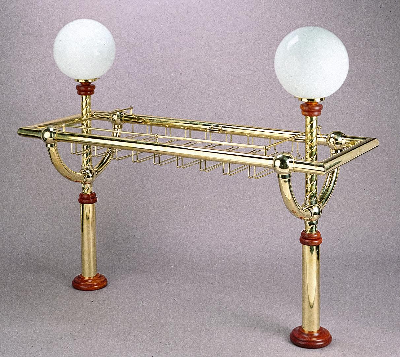 Brass Gantry with Wine Glass Stemware Rods