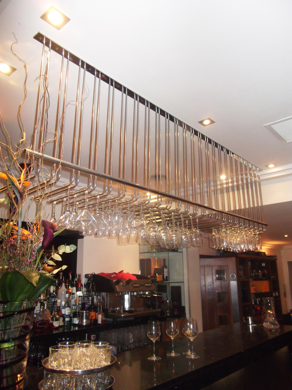 Polished Stainless Steel Wine Glass Racks