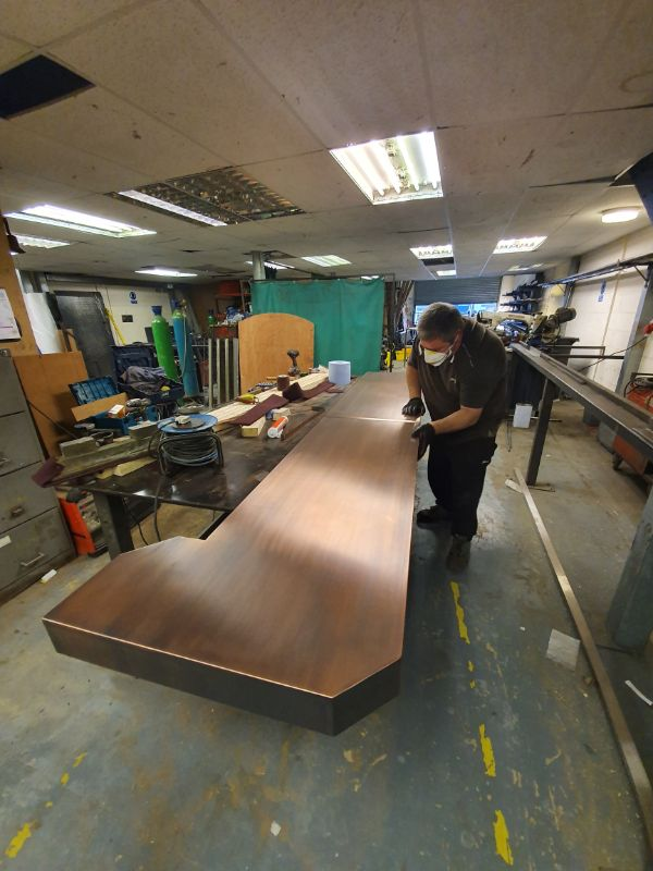 Antique Copper Bar Top being fabricated in one of our workshops